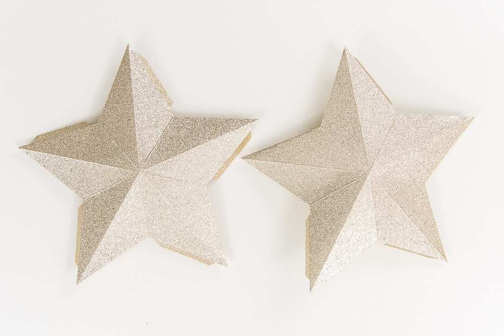 gold glitter 3D star pieces folded