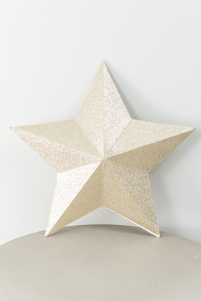3D star decorations for Christmas gold glitter