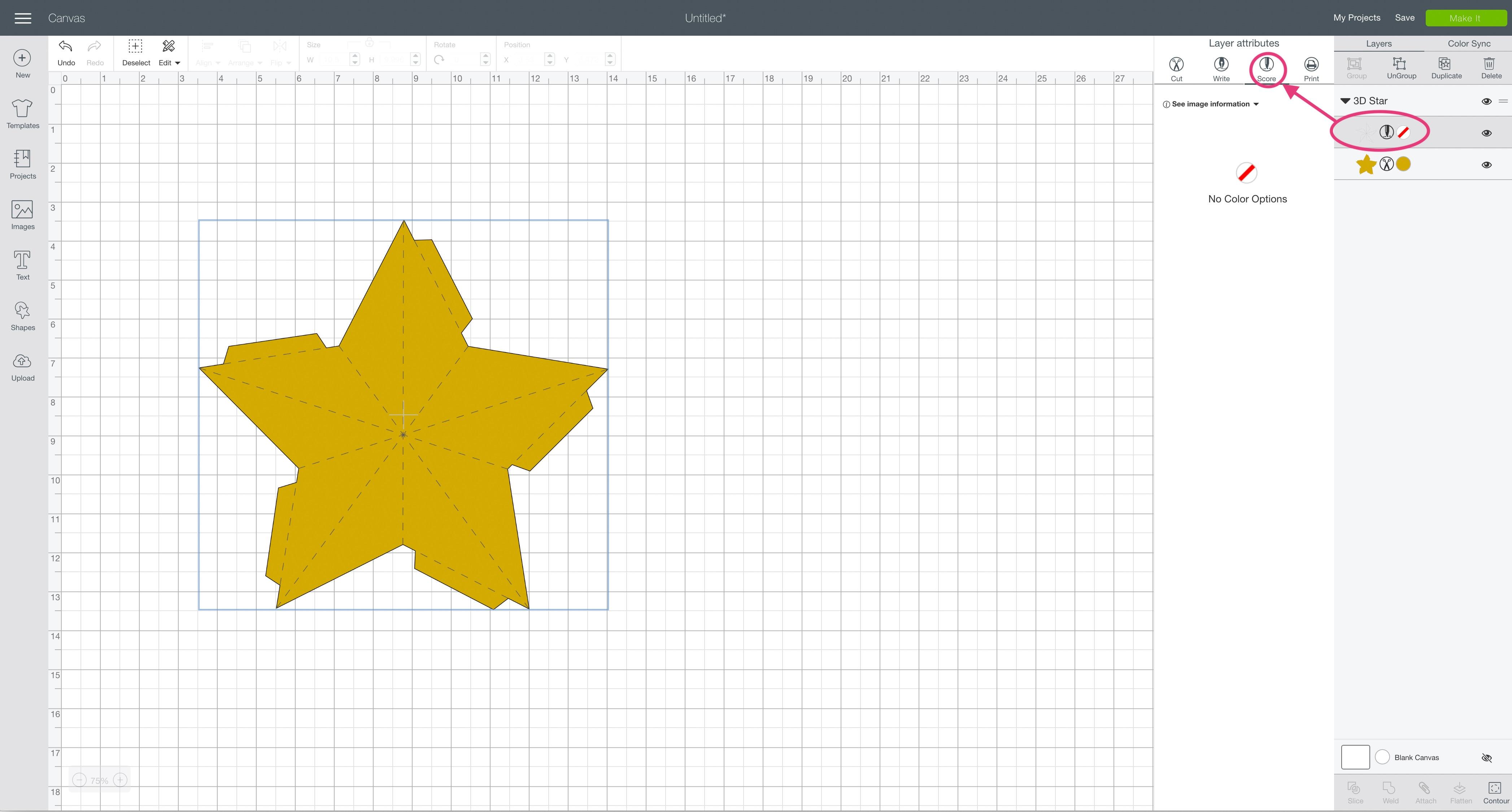 score layer attributes Cricut Design Space 3D star
