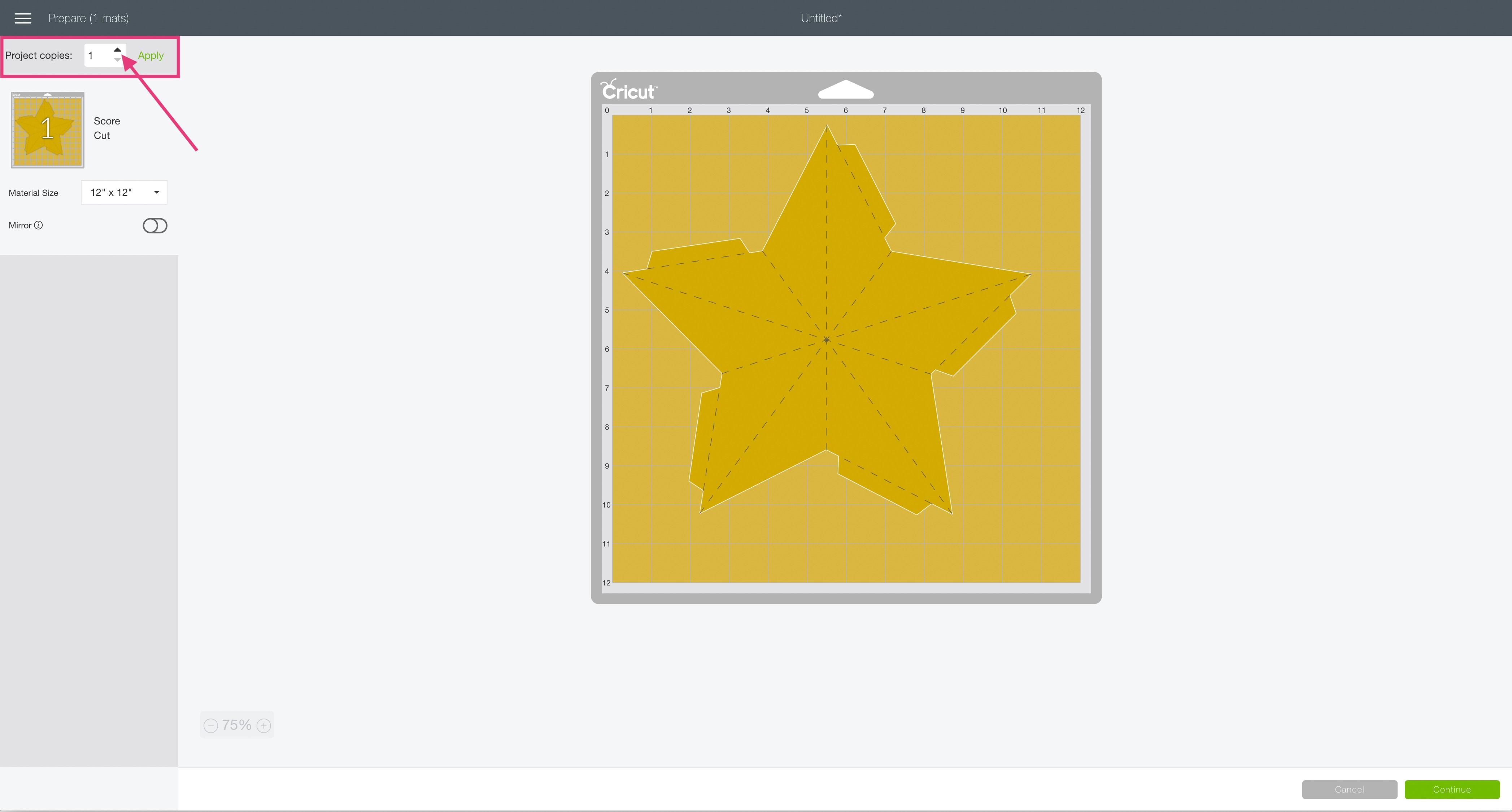 mat preview screen Cricut Design Space 3D star