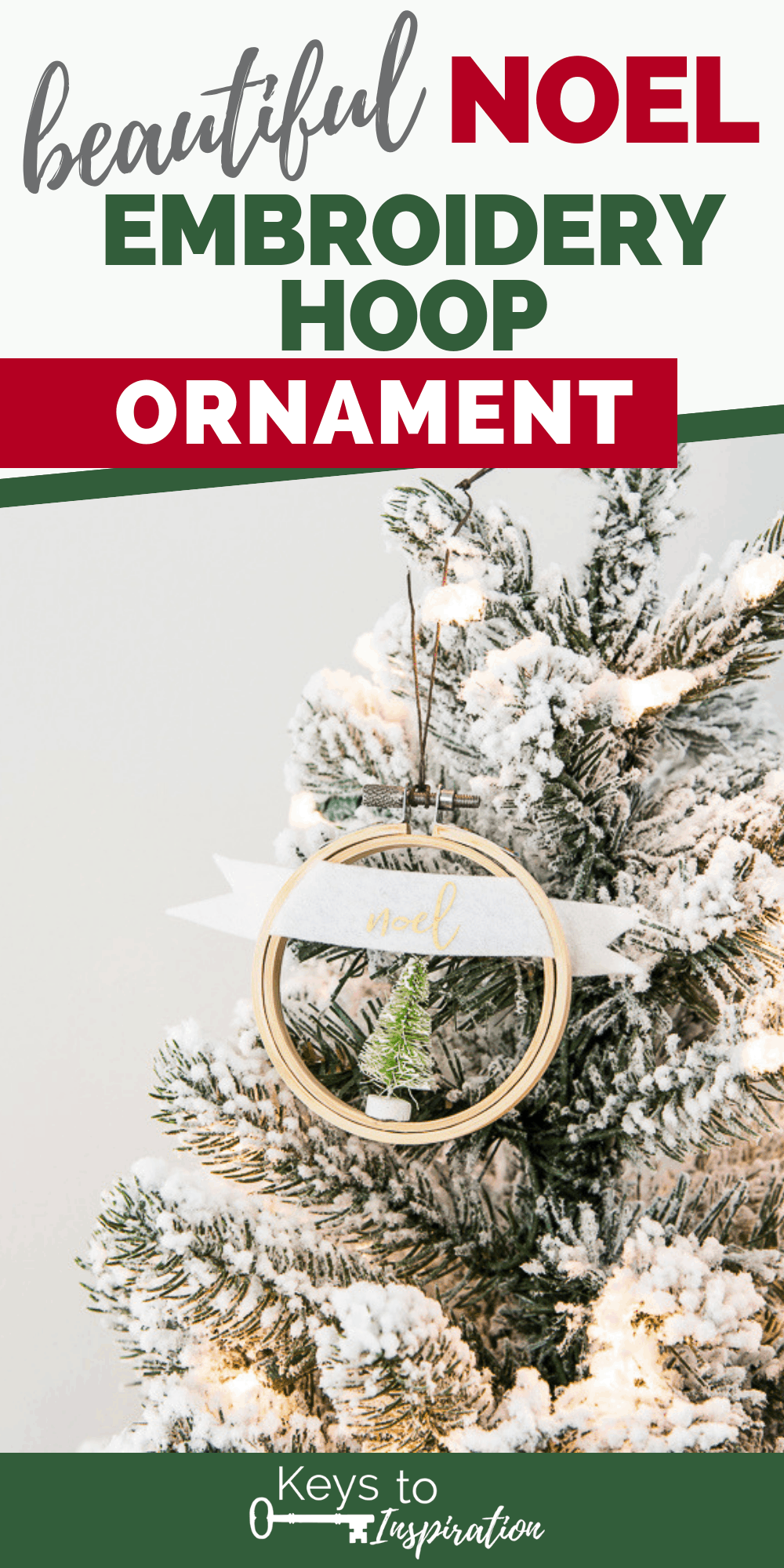 noel embroidery hoop ornament with green mini Christmas tree
