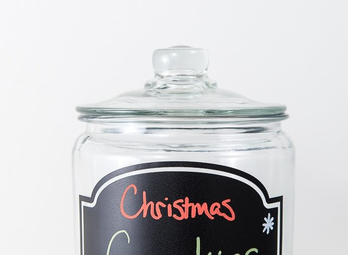 clear Christmas cookies jar with chalkboard label