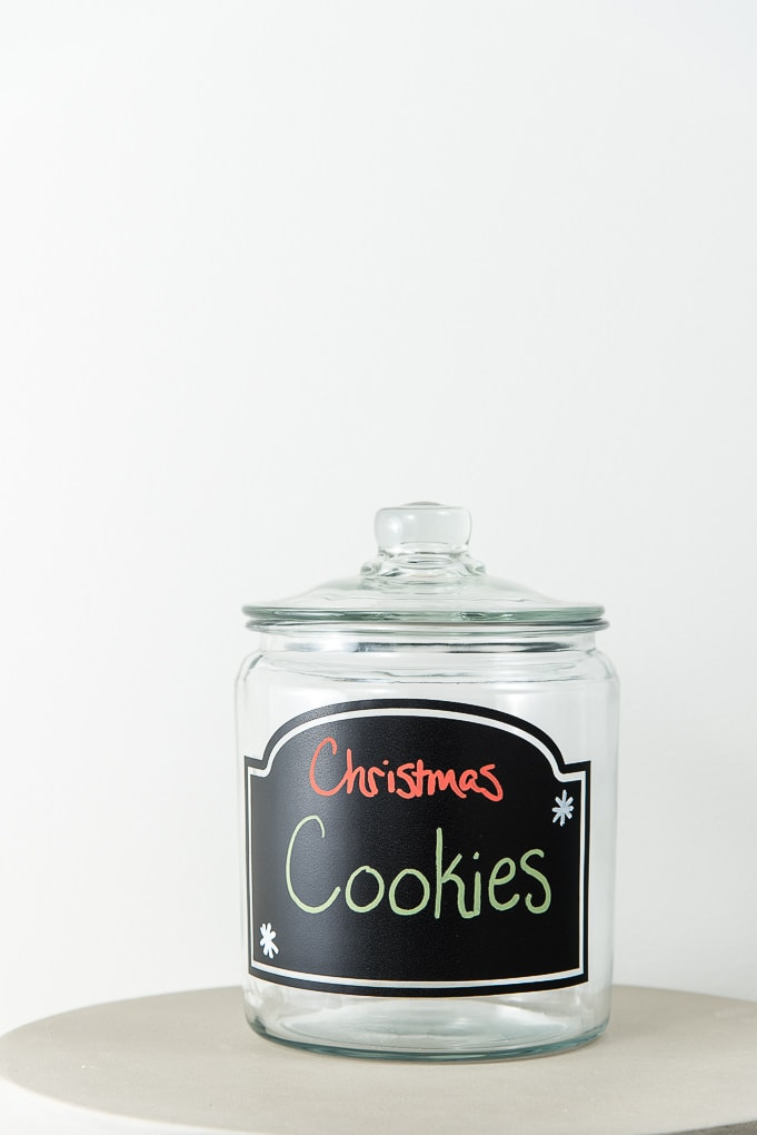 Christmas cookies jar with chalkboard label