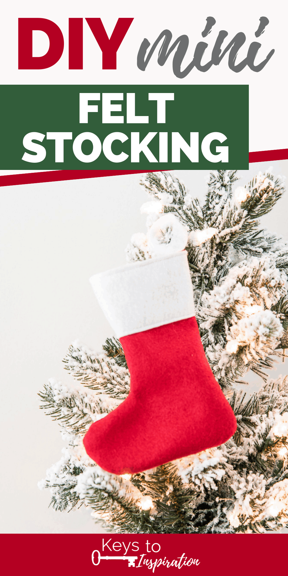red mini felt Christmas stocking on flocked Christmas tree