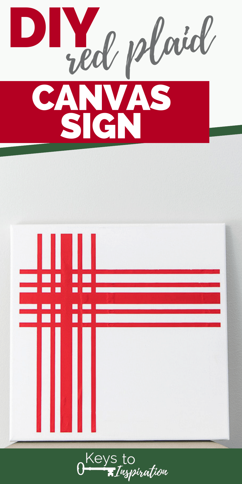 red plaid canvas sign diy project Christmas