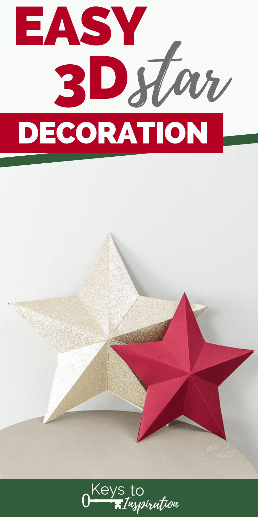 3D star decorations for Christmas red and gold glitter