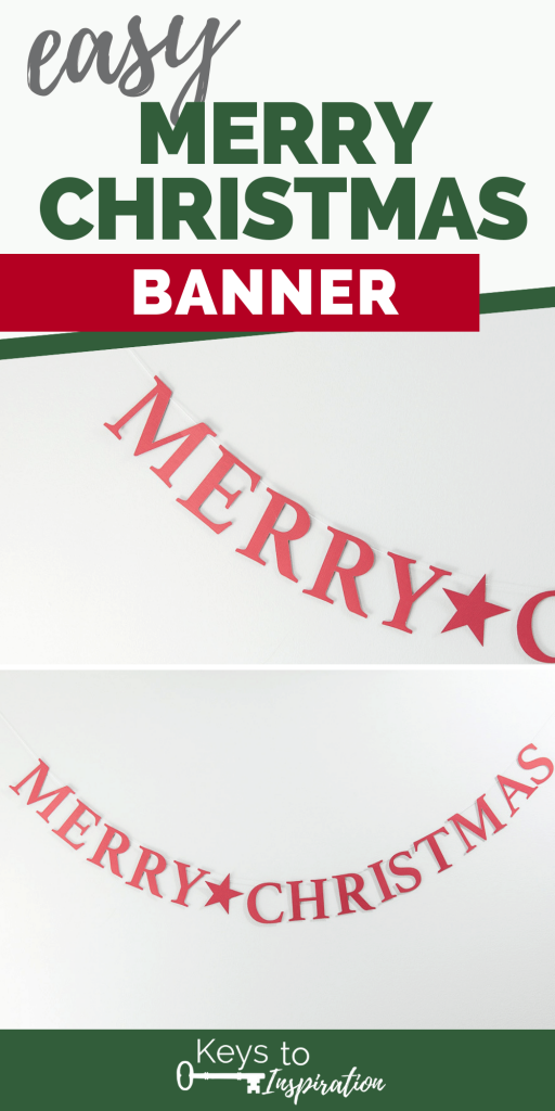 Merry Christmas Banner Cricut tutorial project red