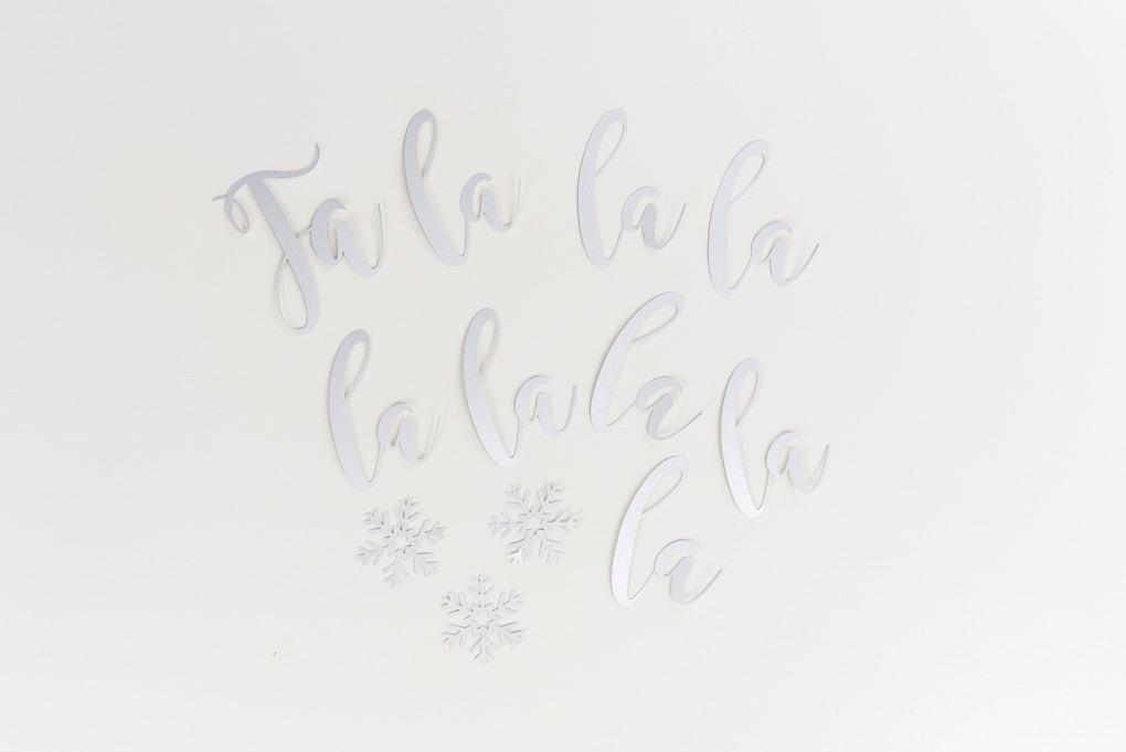 fa-la-la banner cutout letters silver glitter