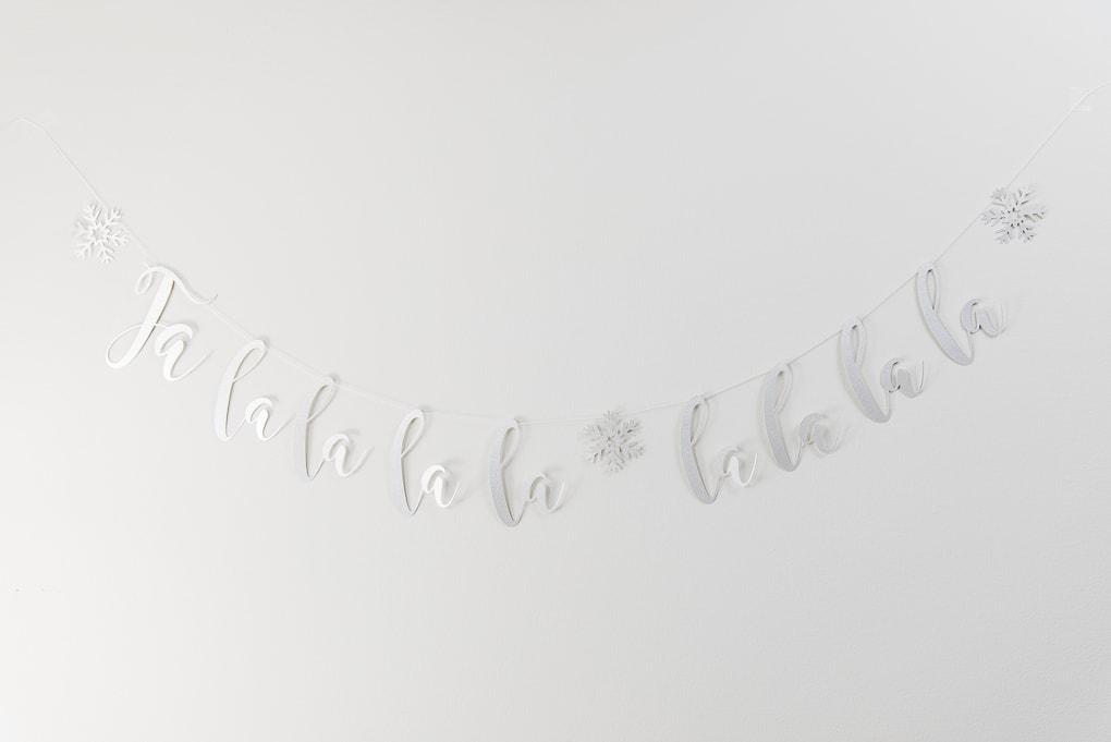 fa-la-la silver glitter banner