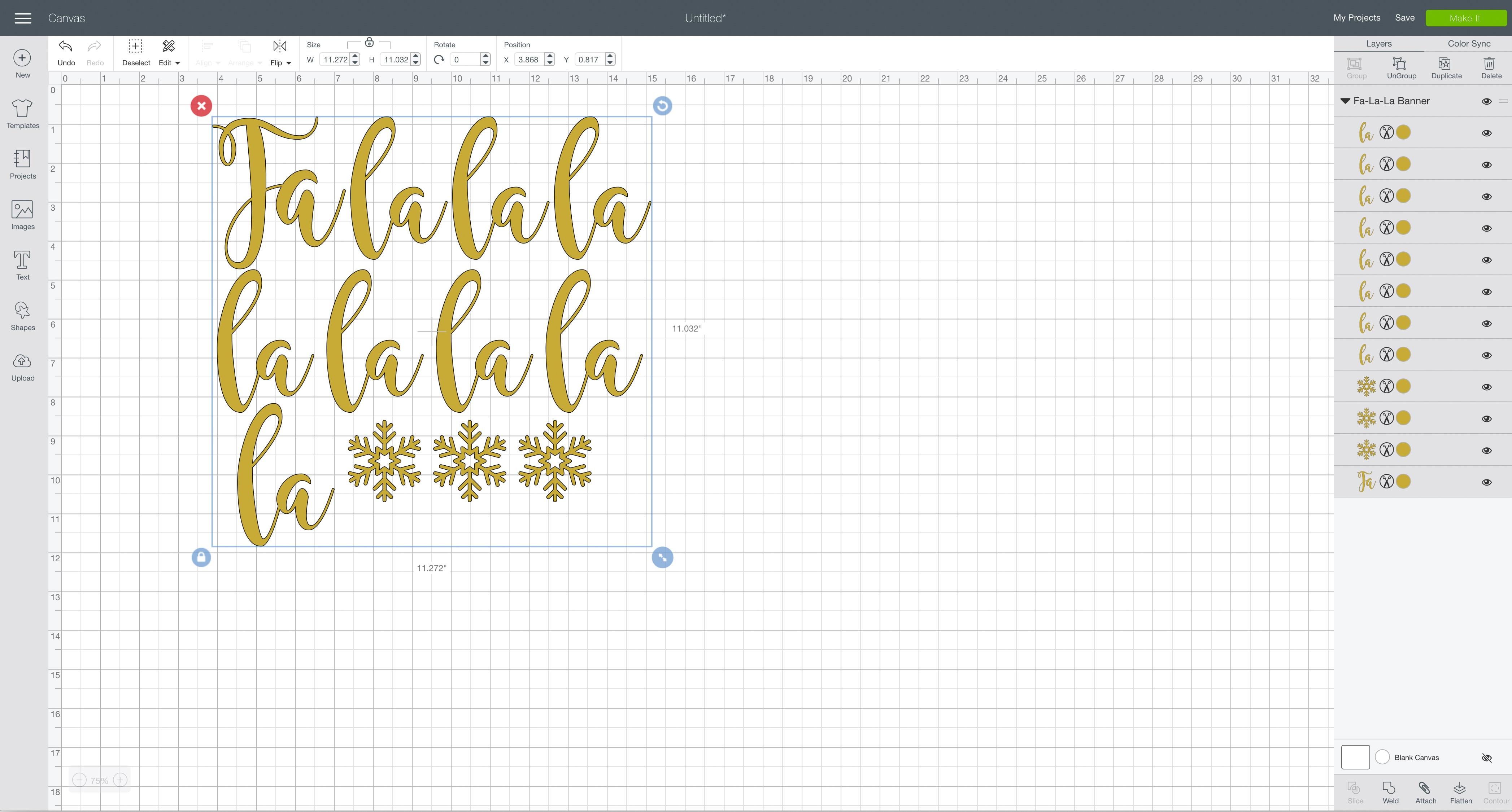 svg design file Cricut Design Space fa-la-la banner