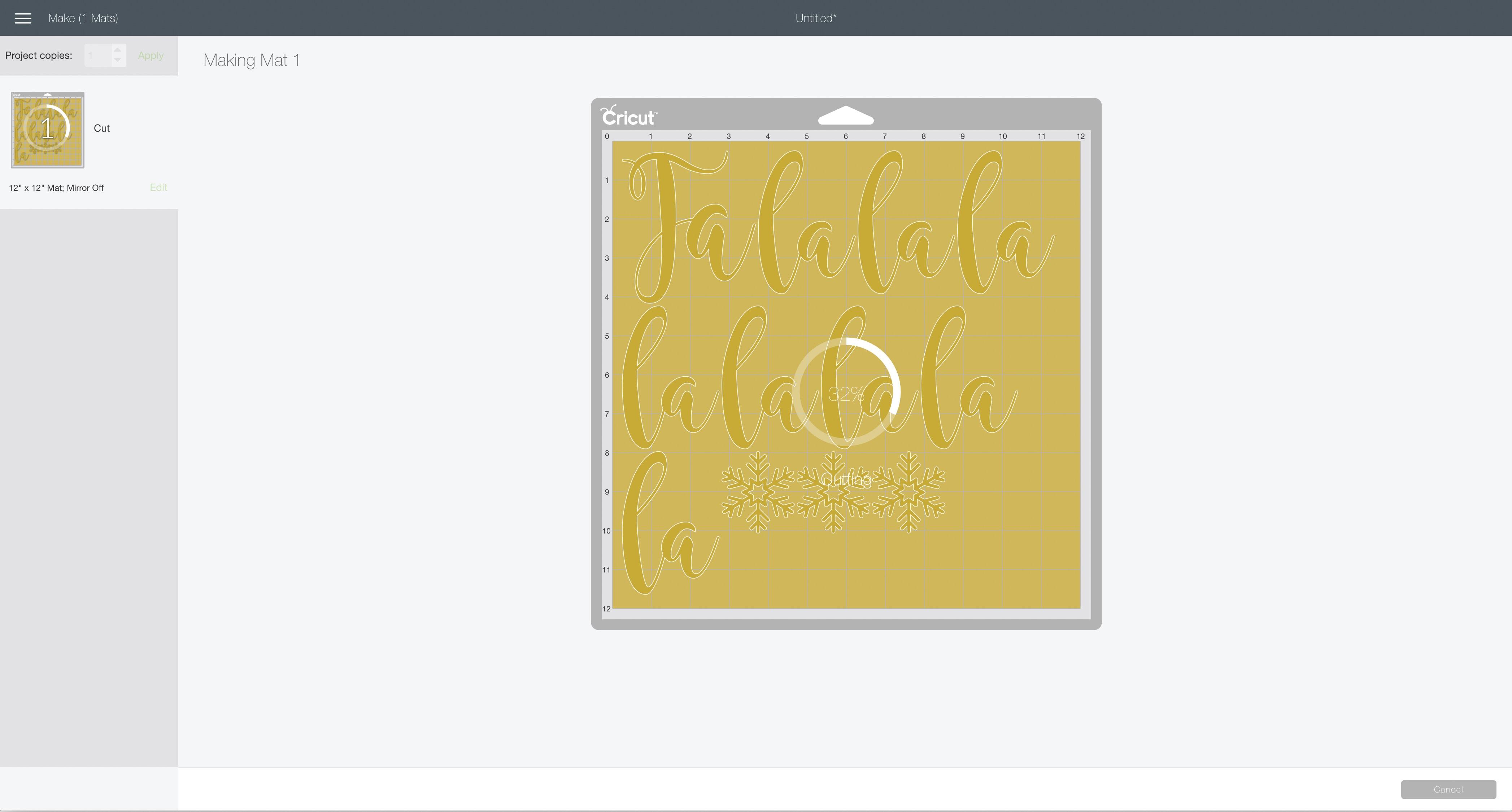 cutting screen Cricut Design Space fa-la-la banner