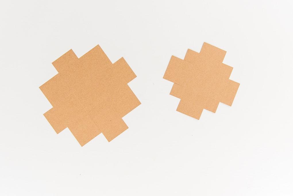 brown paper box and lid cutouts using Cricut explore
