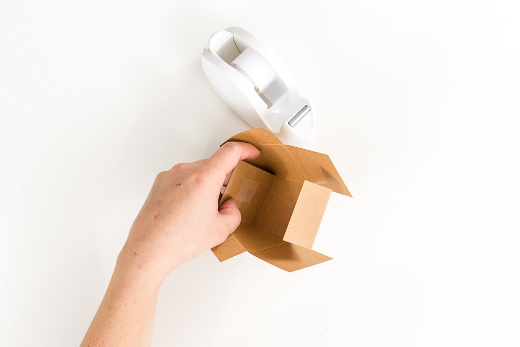brown 3D paper box with clear tape
