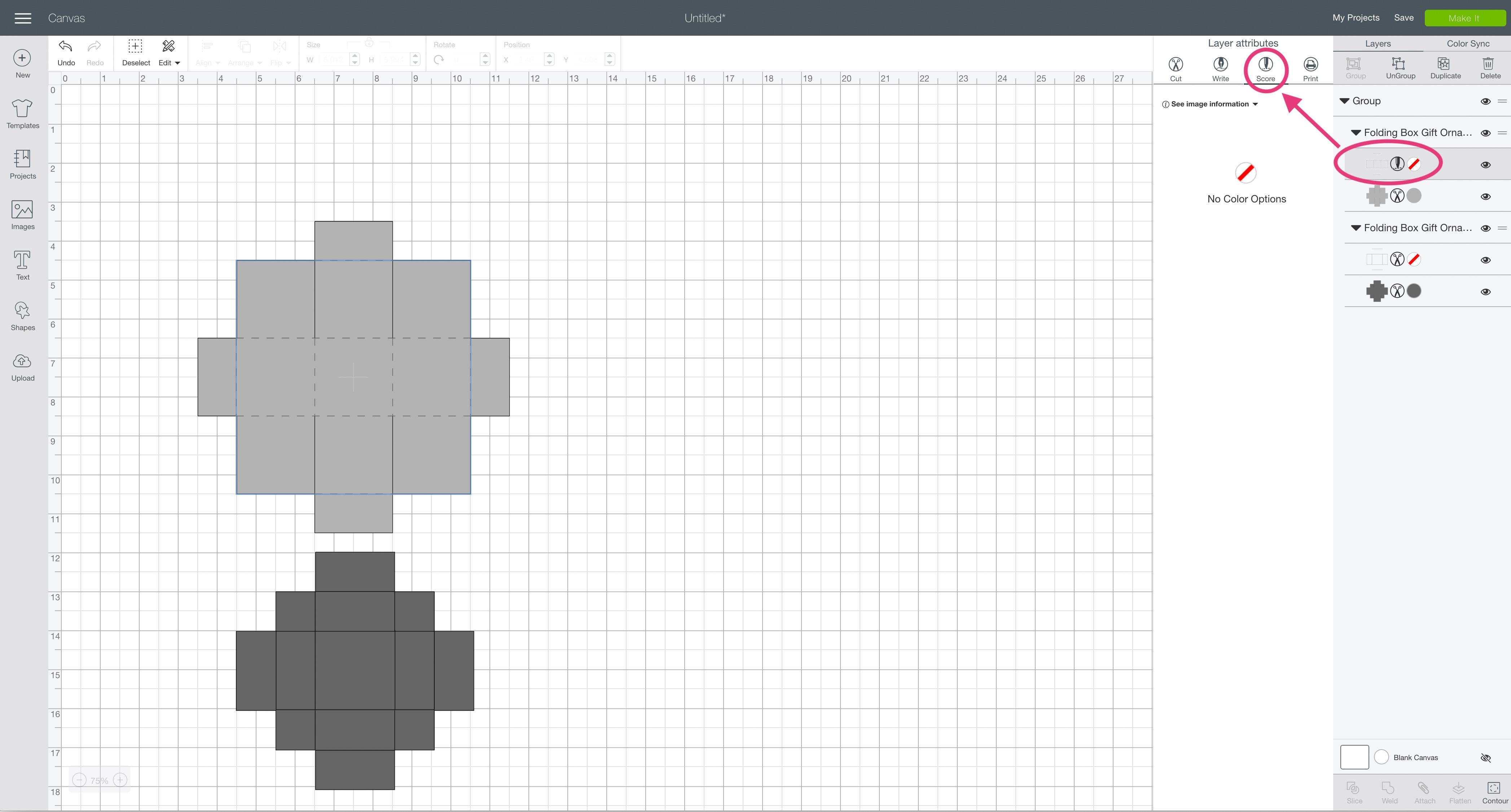 score layer attributes box Cricut Design Space folding box gift ornament