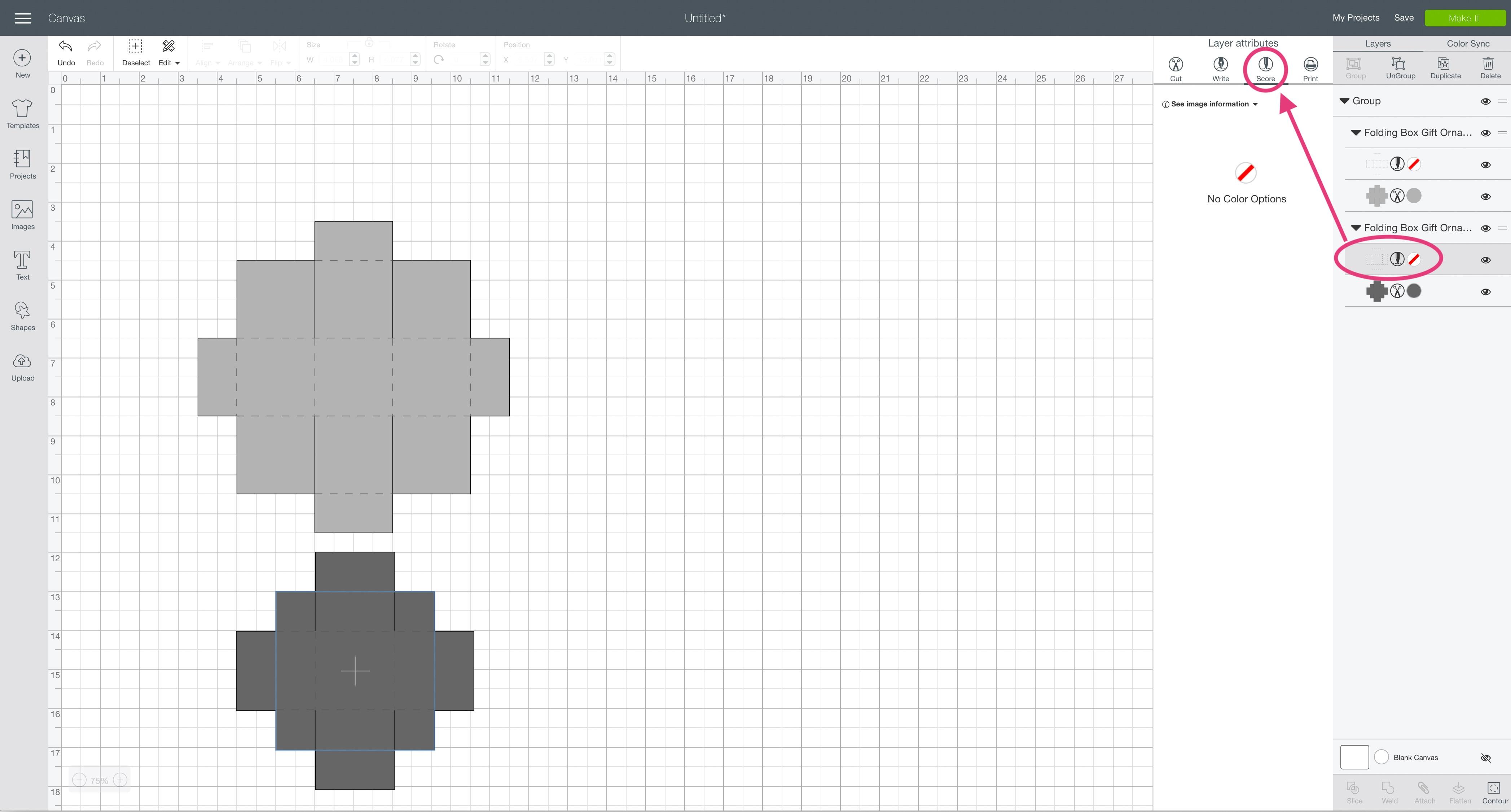 score layer attributes lid Cricut Design Space folding box gift ornament