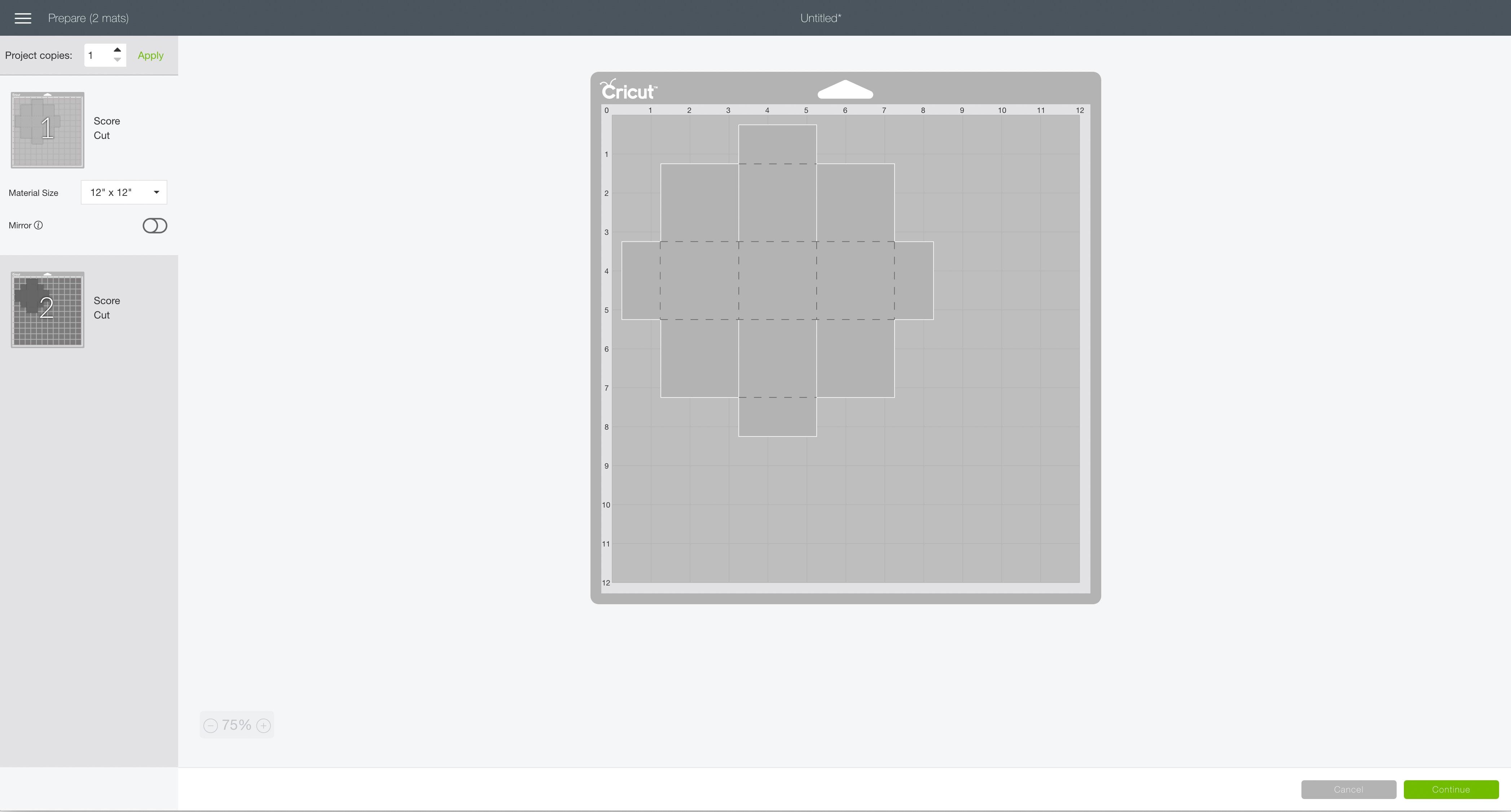 mat preview screen Cricut Design Space folding box gift ornament