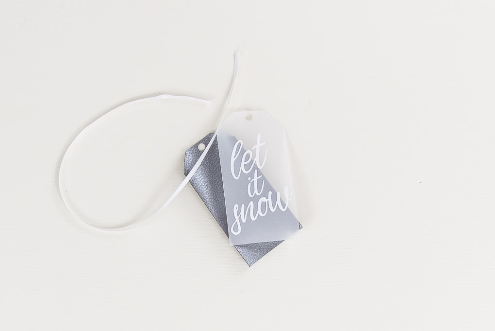layered gift tag let it snow with gray leather