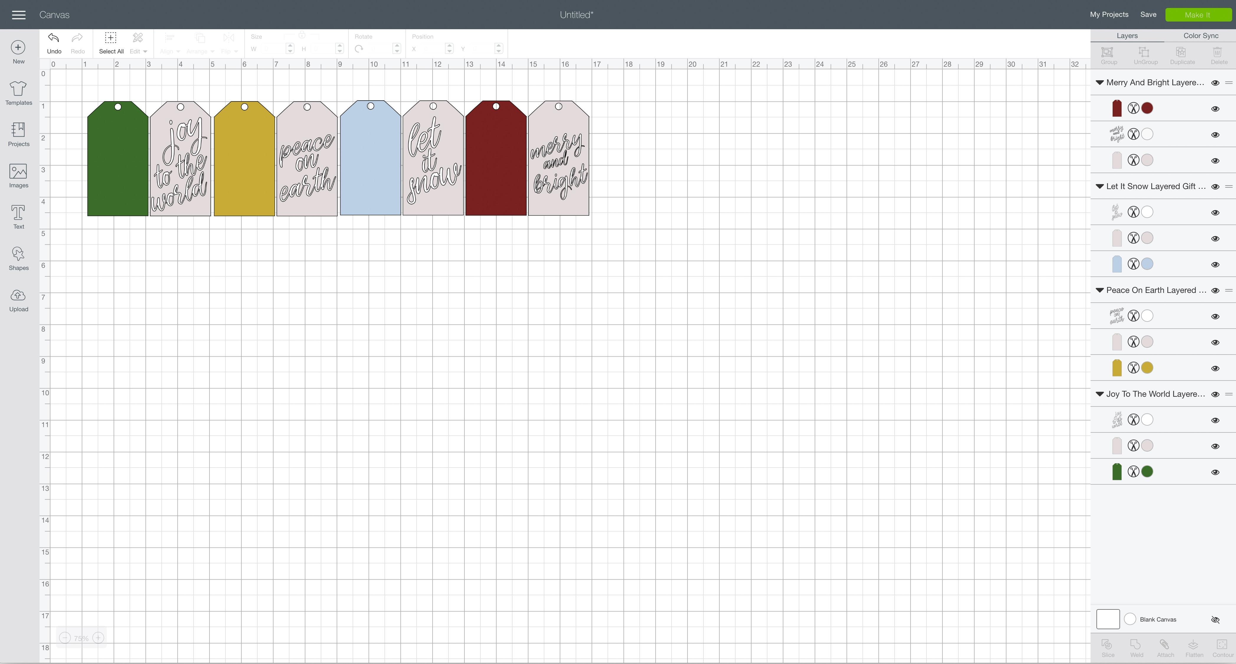 svg design file Cricut Design Space pretty layered gift tags