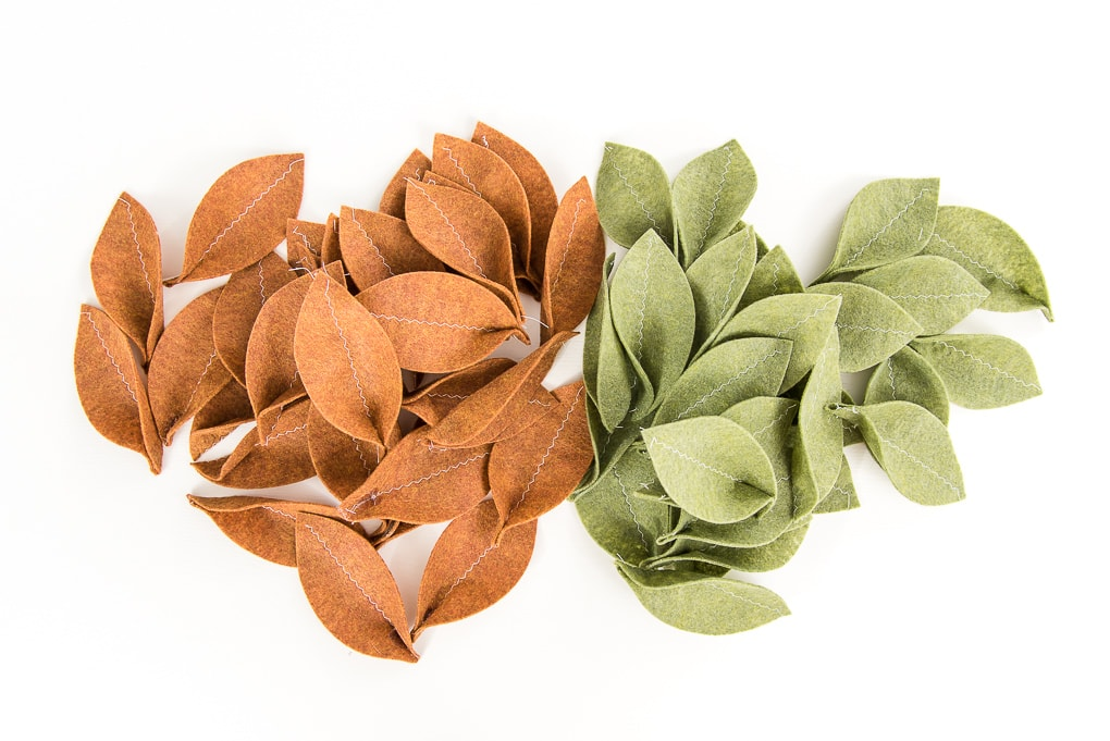 felt magnolia garland leaves green and tan 3D shape