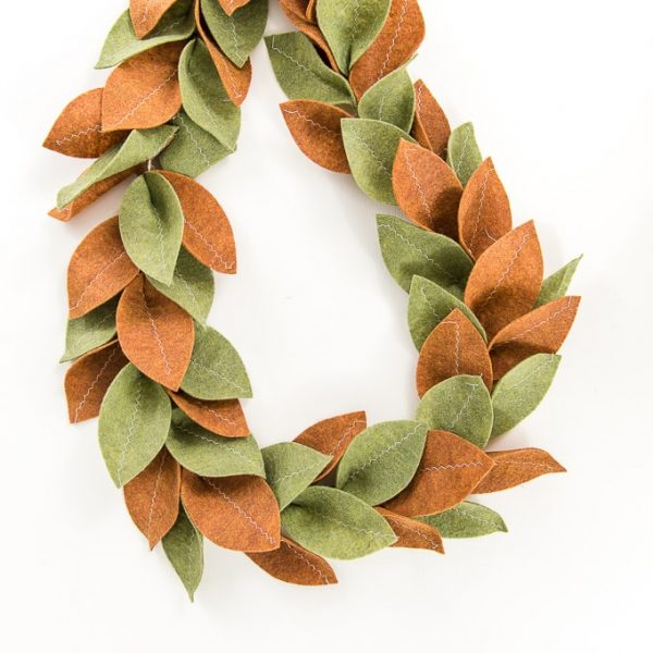 loop of felt magnolia garland green and tan