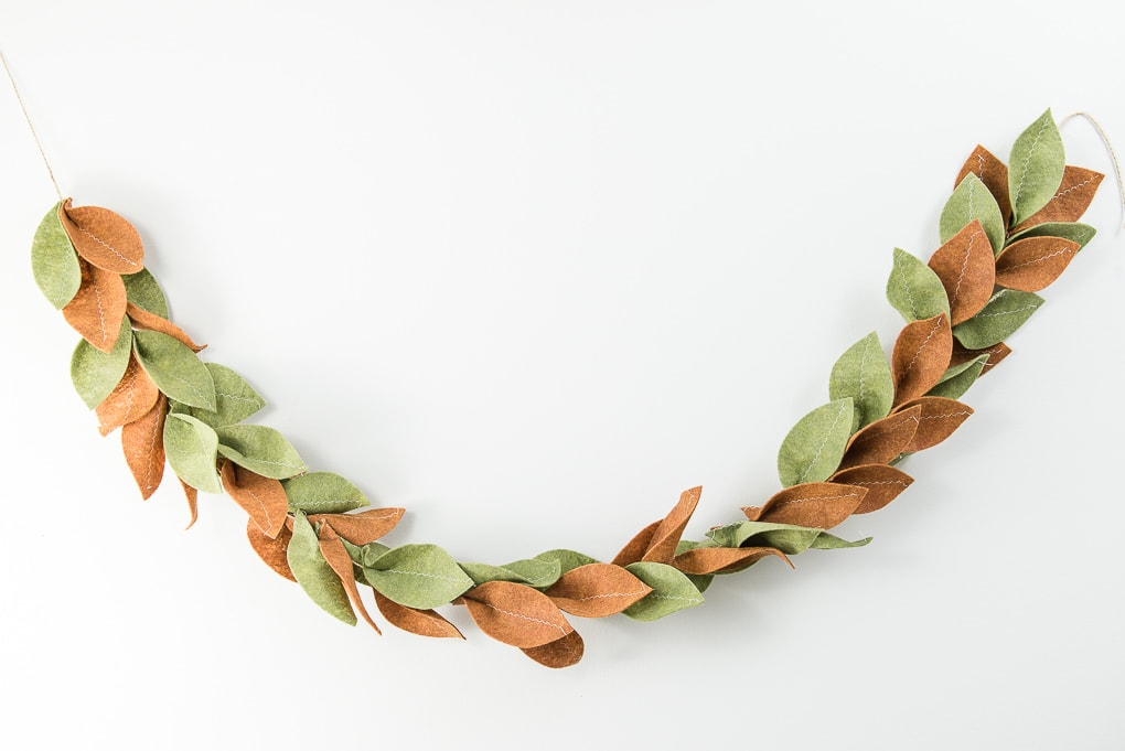 finished felt magnolia garland green and tan