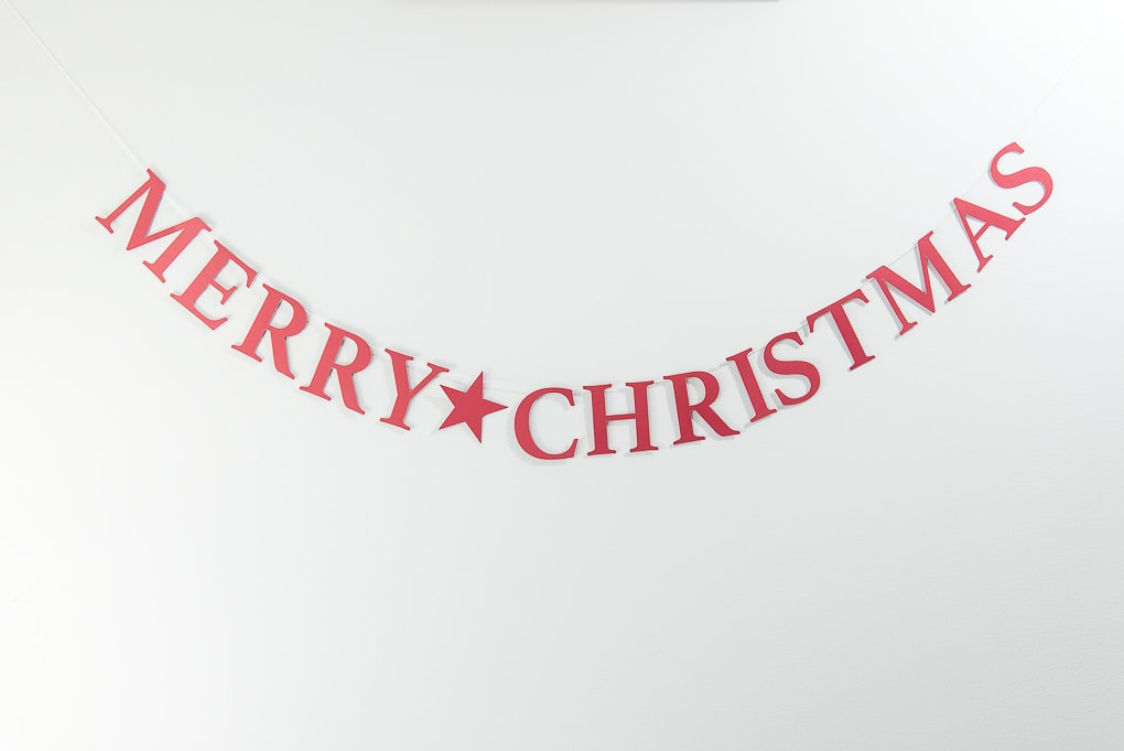 red Merry Christmas banner