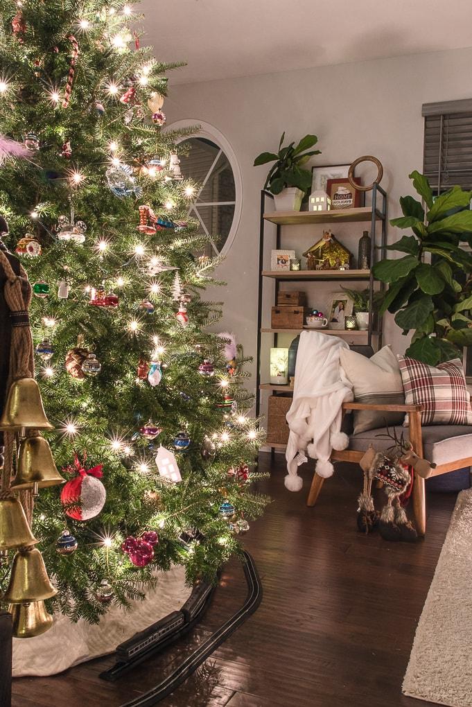 Christmas living room and night bookshelf