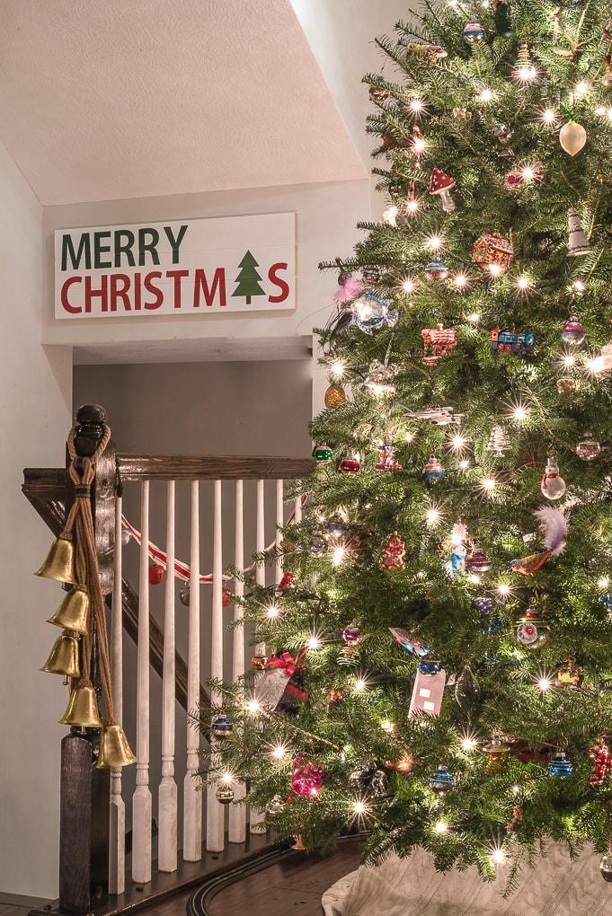 Christmas lights on a real Christmas tree lit up at night
