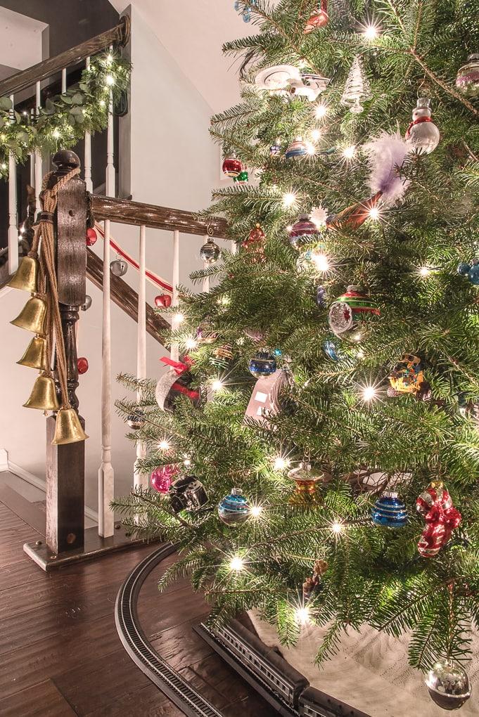 Christmas lights on a real Christmas tree at night