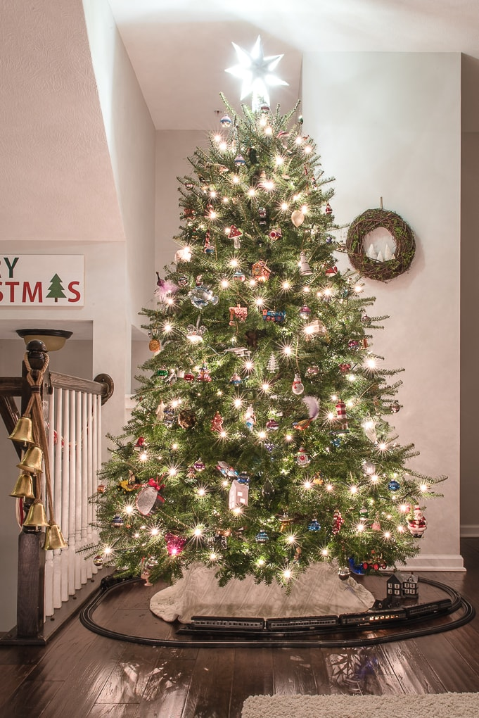 real Christmas tree lit up at night in living room