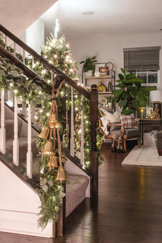 Christmas living room and staircase lights at night