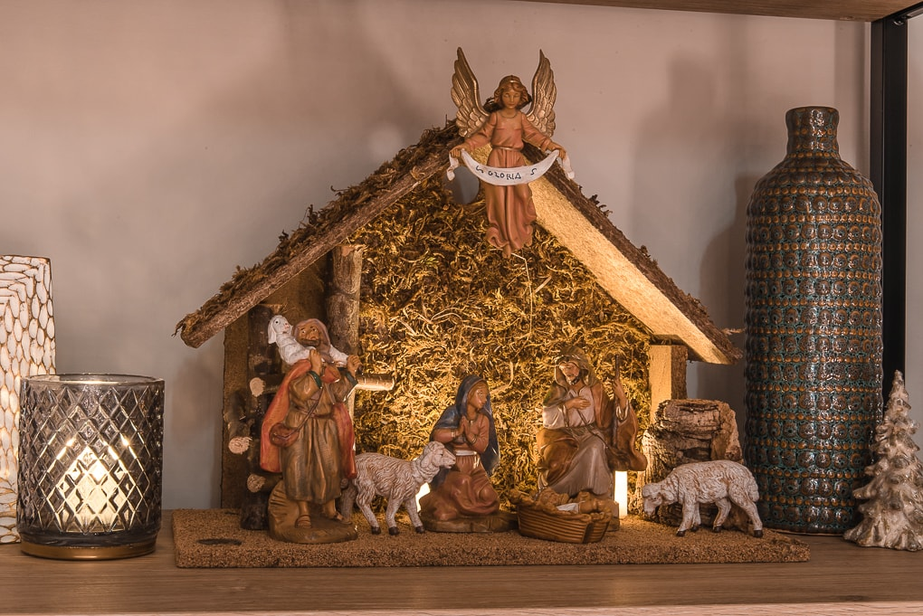 traditional Christmas nativity scene at night