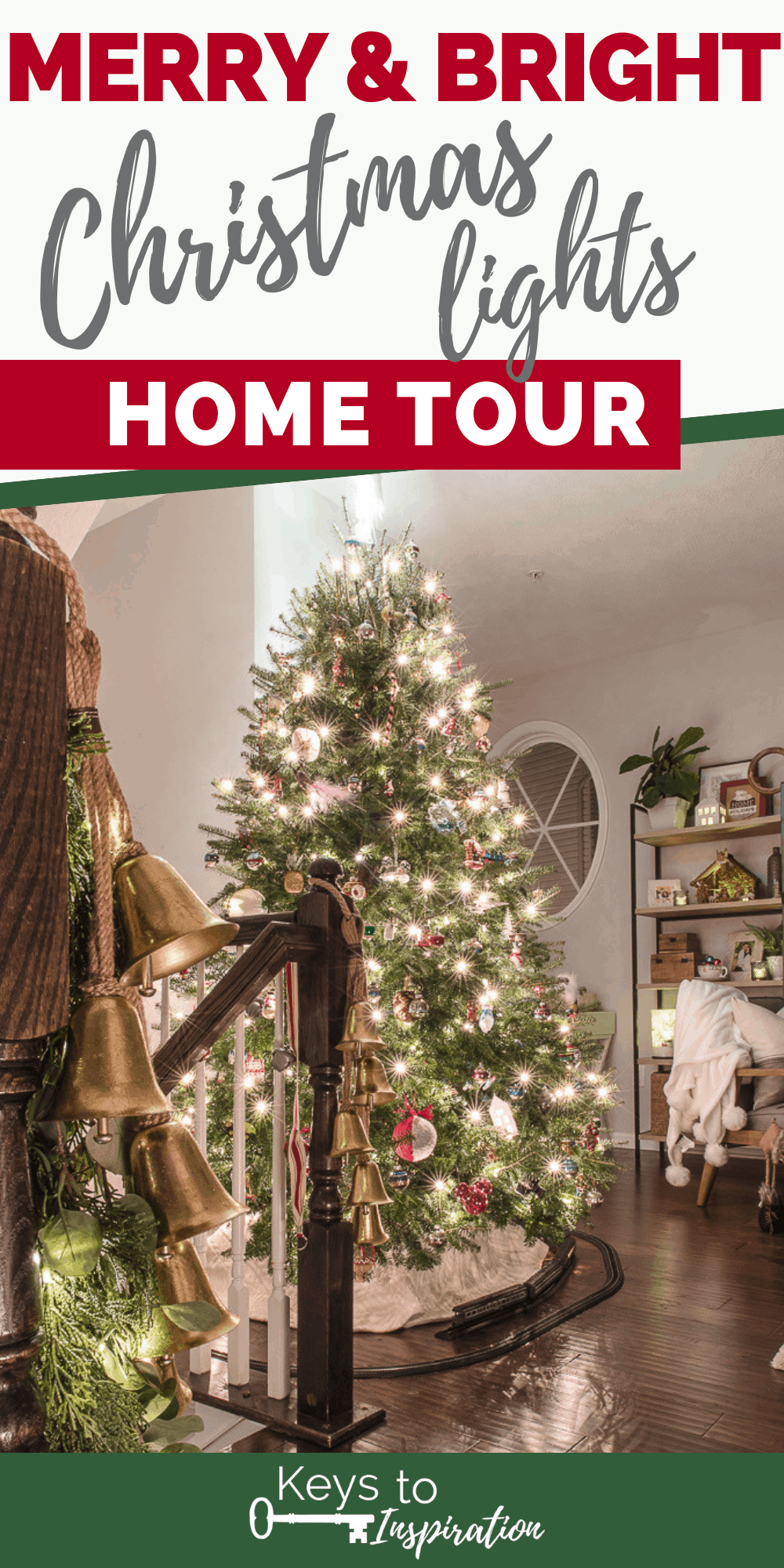 Merry and Bright Christmas lights home tour Christmas tree lit up at night