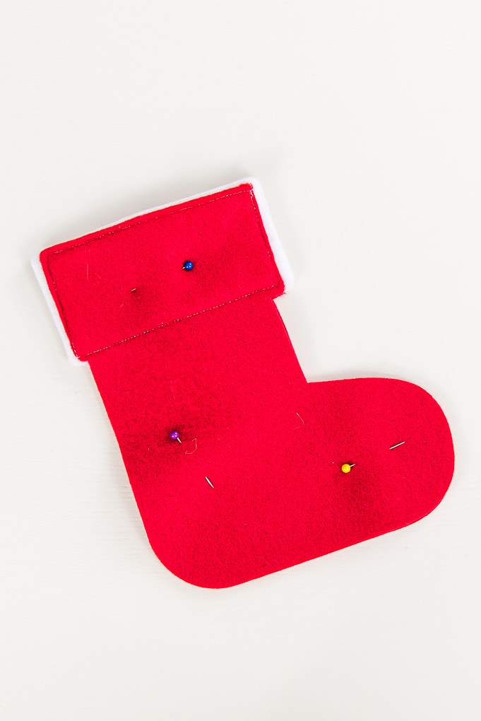 pinning mini felt stocking cutouts red