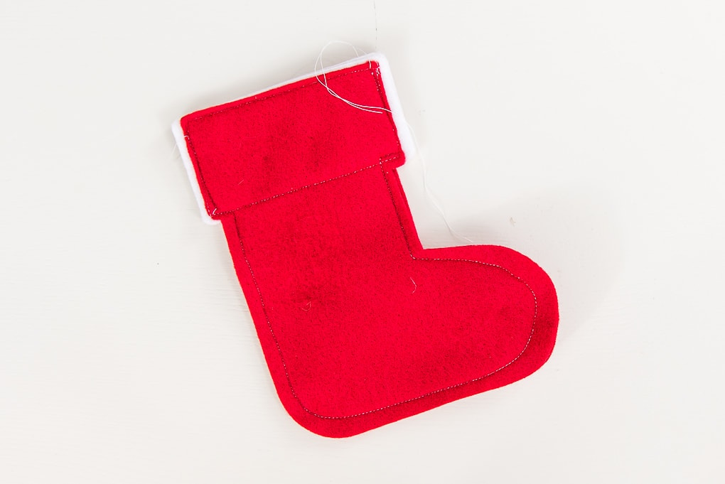 sewing mini felt stocking cutouts red