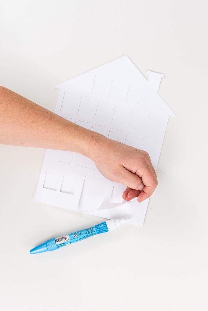 glueing white cardstock for modern advent calendar
