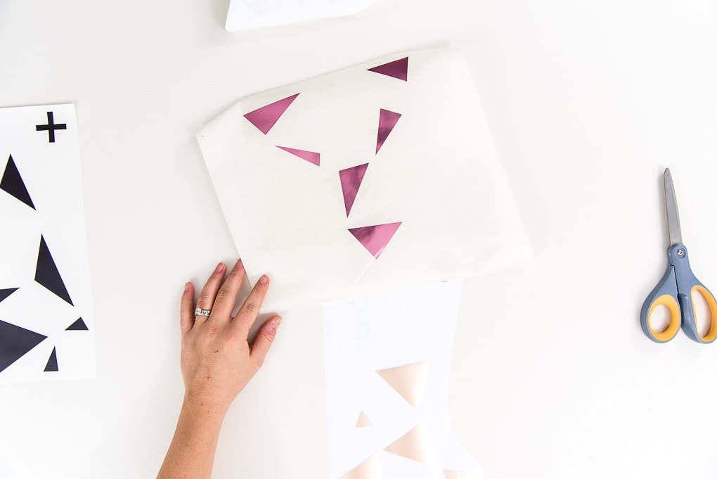 adhesive foil geometric shapes on transfer tape