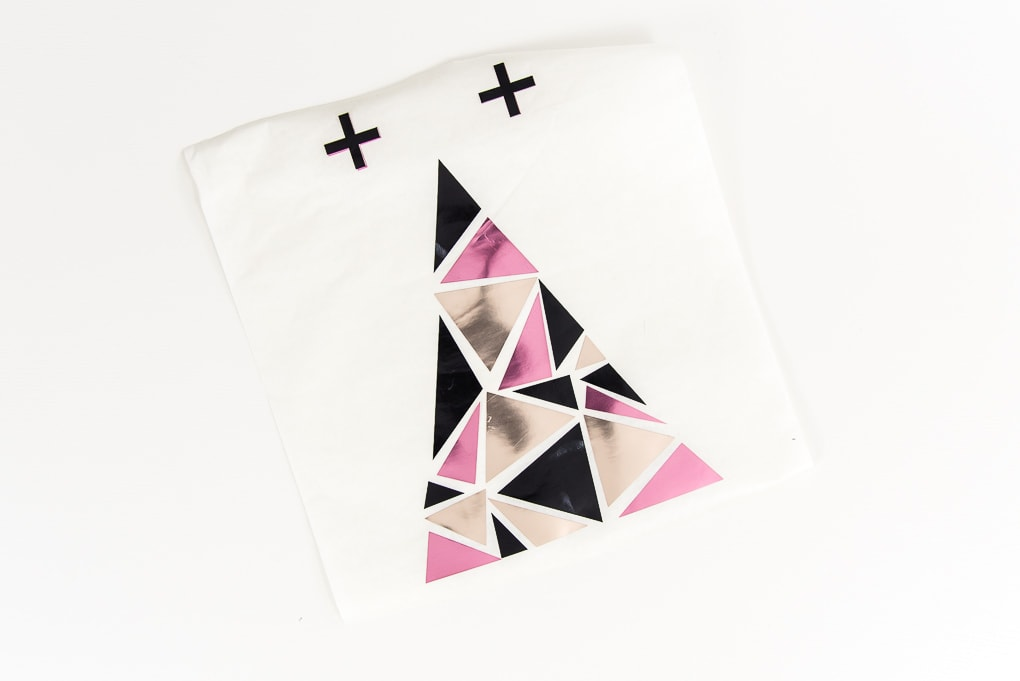 adhesive foil geometric design black pink and champange