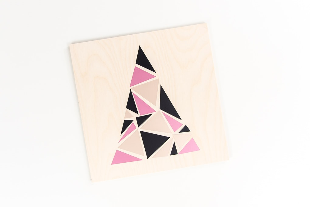 modern geometric tree design on craft plywood