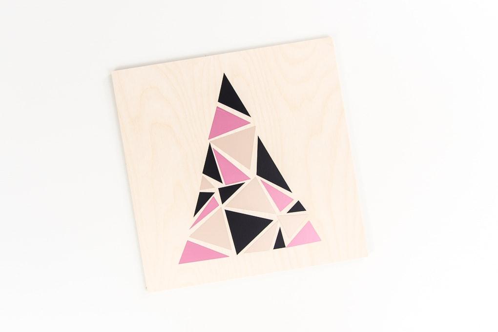 modern geometric tree design on craft plywood