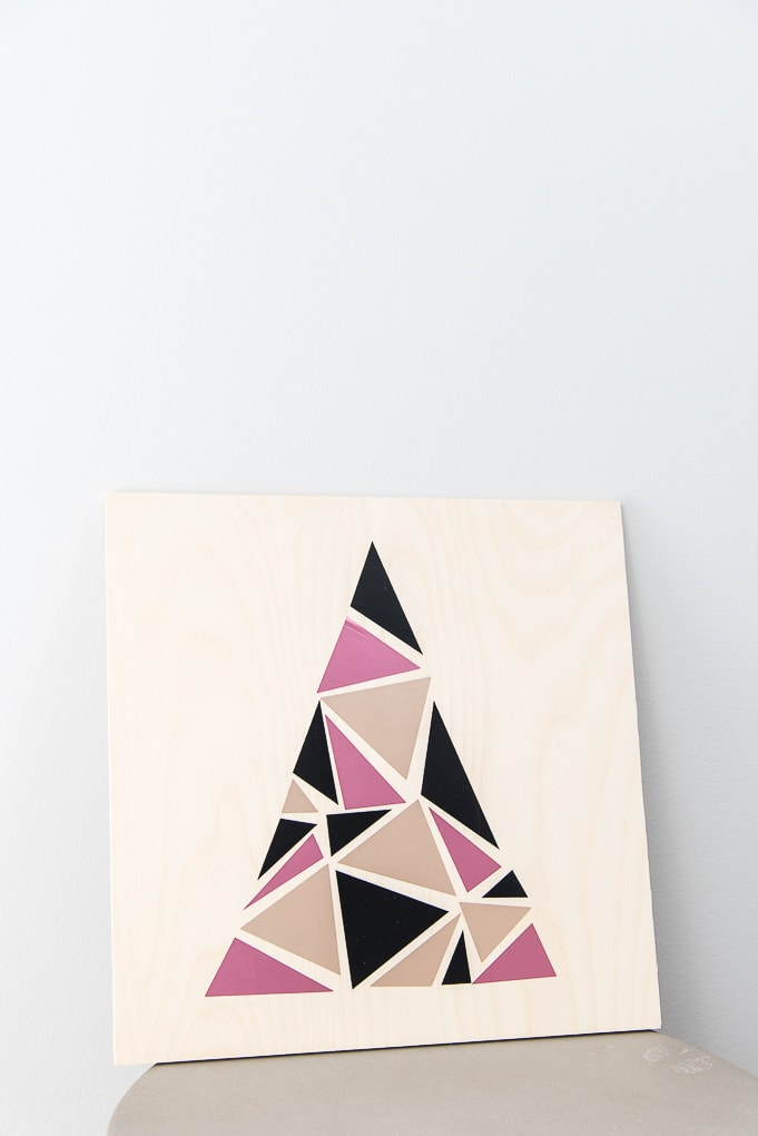 modern geometric tree sign pink champagne and black