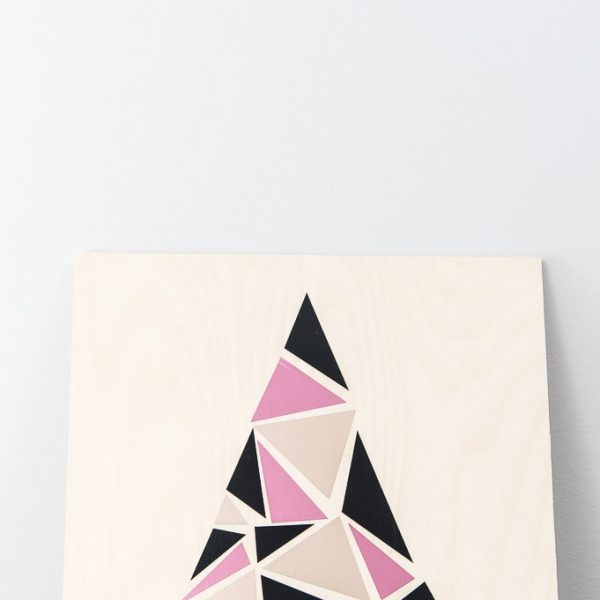 close up modern geometric tree sign pink champagne and black
