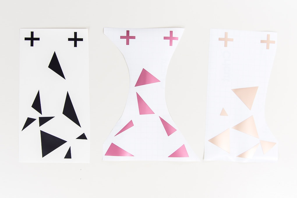 black pink and champagne geometric vinyl cutouts