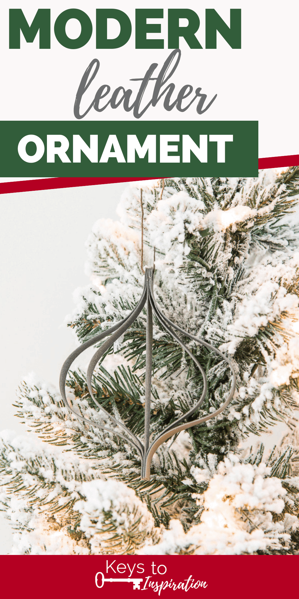 gray modern faux leather Christmas ornament on flocked tree