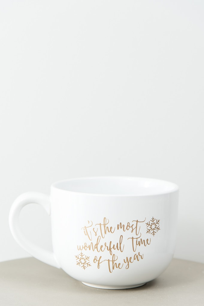 it's the most wonderful time of the year large white mug gold adhesive vinyl design
