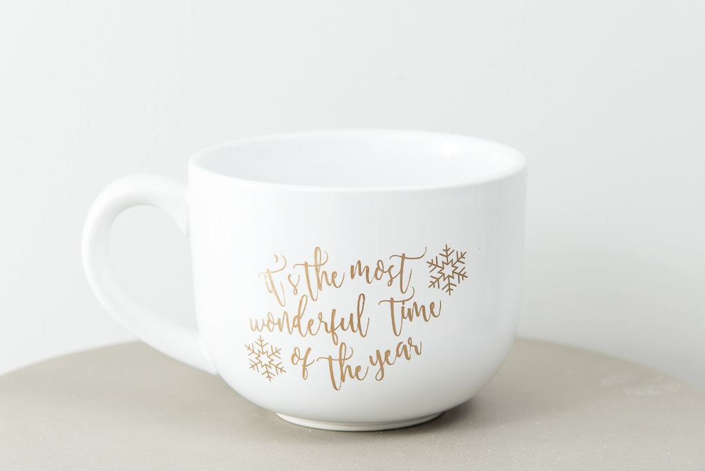 close up it's the most wonderful time of the year large white mug gold adhesive vinyl design