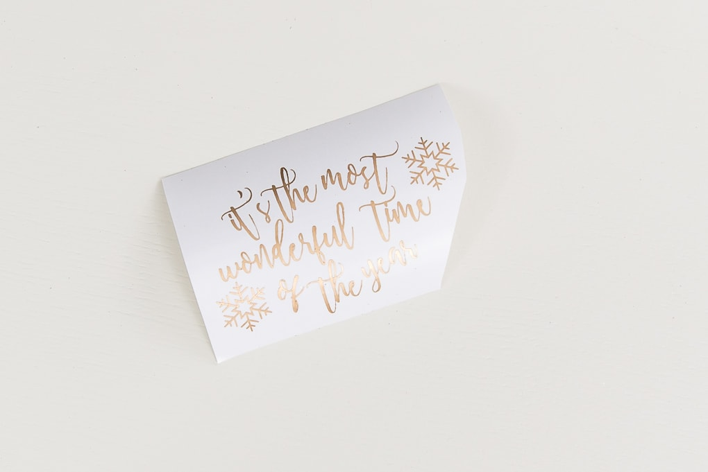 it's the most wonderful time of the year gold adhesive vinyl design weeded