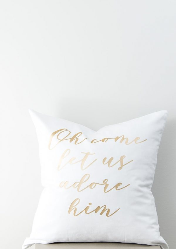 DIY Oh Come Let Us Adore Him Pillow