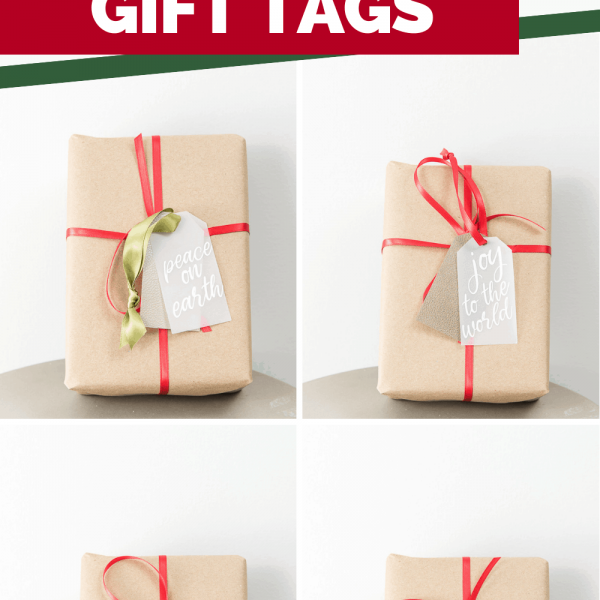 pretty layered gift tags on Christmas presents