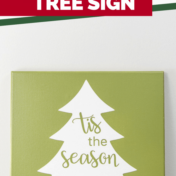 Tis the Season green Christmas tree canvas painted sign